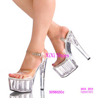 plus size35-44 2014 Women's ultra 17cm sexy high-heeled transparent crystal marriage sandals lady performance dancing shoes