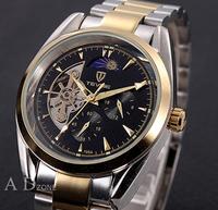 New 2014 fashion military full steel clock  automatic self-wind  watch tourbillon moon phase relogio masculino mechanical watch