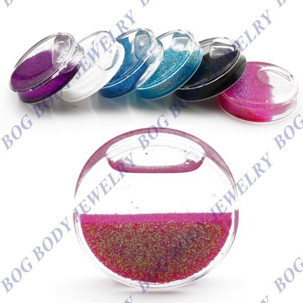 BOG-Large Size Glitter Liquid Ear Gauges Double Flare Saddle Snow Globe Liquid Glitter Ear plug Tunnels Expander-Sold As Pair(China (Mainland))
