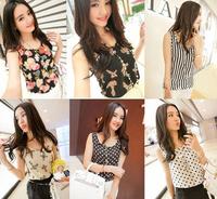 2014 Fashion Summer Women Clothes Shirts Sleeveless Causal Chiffon Blouses Sundress Multi Colors Tops Blouse Drop Shipping 123H
