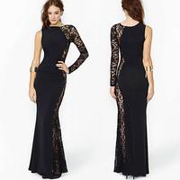 fashion sexy evening dress asymmetrical lace patchwork one shoulder full dress for women  Plus size XS-XXL