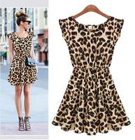 2014 New Fashon Women Casual Ruffles Sleeve Summer Dress Pleated Leopard Dress, Plus Size all-match slim waist  one-piece