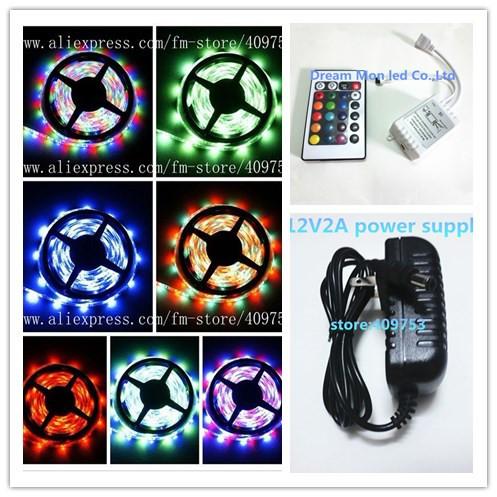 5M Waterproof RGB Led Strip 3528 Flexible Light 5M 300 LED SMD + RGB IR