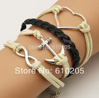 Wholesales  2014 fashion jewelry for women Beige Silver Heart Charms Bracelets