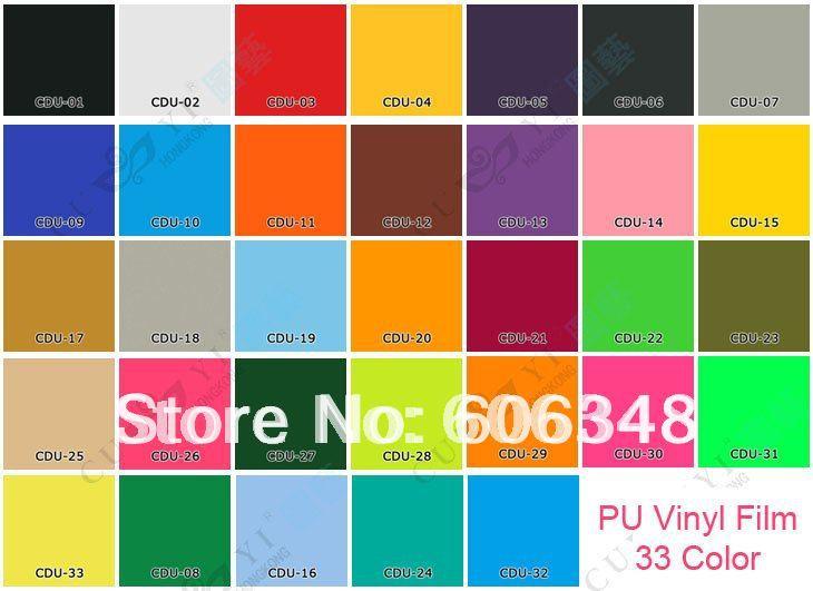 PU Heat Transfer Film 0.5*5M Per Roll / Heat Press Transfer PU Vinyl Film 33 Color(China (Mainland))