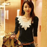 Free shipping ! 2014 spring new arrival big size women's clothing long-sleeve cotton t-shirt female high-elastic lace shirt