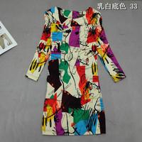 M L XL XXL 3XL 4XL 2014 spring summer women's  fashion print vintage slim medium-long plus size one-piece dress Folk Style Dress