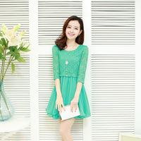 2014 summer new women's fashion Korean Slim fifth sleeve lace dress skirt wholesale