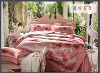 2014 new arrival wedding bedding set king size embroidered bed set export quality bed set flower pattern duvet cover