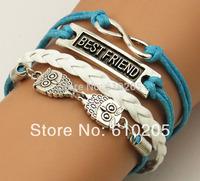 Wholesales  2014  New arrival handmade Wax linen cord Best Friend Owl Charms Bracelets