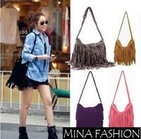 Hot Sale Tassel Women Leather Handbags Cross Body Shoulder Bags Fashion Messenger Bags 6 Colors Available 26*12*38cm