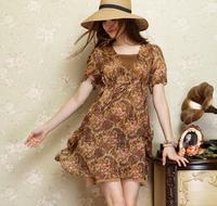 100% silk women dress  flower printed natural mulberry silk dress for women 3 styles fashion dresses for girls  princess dress