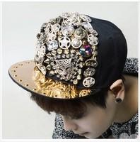 Spring and summer handmade sewing rivet sparkling diamond leopard head baseball cap fashion hiphop hip-hop punk flat-brimmed hat