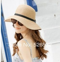 2014 Classical Simple Design Wide Brim Summer Straw Hat For Women Floppy Sun Cap Beach Free Shipping