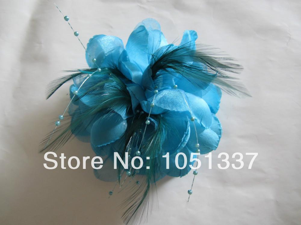 FREE SHIPPING! Wedding Light Sky Blue Feather Hair Fascinator Clip Women Corsage Brooch Pin Fascinators Headpiece Headwear Party(China (Mainland))