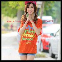 Free shipping High quality  short Batwing sleeve  printing women tee shirt 630-2