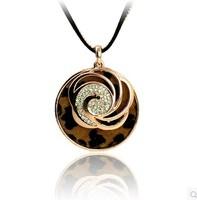 Fashion moon Candy Pendant  Necklace Leopard grain Alloy Rhinestone Female Necklace