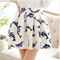 Fresh Fashion 2014 women's cute dolphin print mini bust skirts elastic waist pleated saias fish animal printed short sun skirt