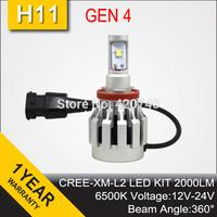 Free Shipping 2014 NEW GEN 4 CREE LED Headlight Conversion Car Kit H11 2000LM 12V 24V Aluminum Alloy IP68 6500K 360 Degree