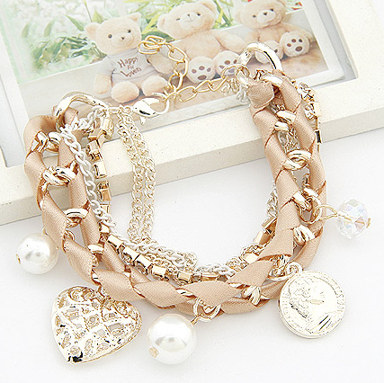S148 Lovely hollow out heart the coin pearl multielement weave multilayer bracelet women s bracelets bangles