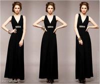Free Shipping Fashion Evening Dress Deep V Neck Design Breast X Bare Backed bright Dress Length: 128CM Average Size