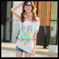 Free shipping High quality  short Batwing sleeve  printing women tee shirt 630-3