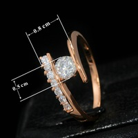 1PCS FREESHIPPING TOP quality 18K Rose Gold Plated 18K Rose Gold Plated 5mm 0.5 carats CZ Stone Engagement Ring C20630R02430-2g