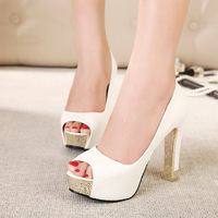 Wholesale Low Price Brand New Design Women Pumps Peep-toe Pumps High Heels Platforms Shoes