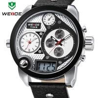 2014 WEIDE Oversized men watch 30 ATM analog sports watch genuine leather Japan Miyota 2035 quartz watches 1 year guarantee