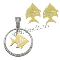 Free shipping!!!Stainless Steel Jewelry Set,Vintage Jewelry, pendant & earring, Fish, gold color plated, with rhinestone