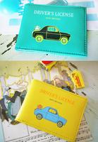 Yizi multicolour leather cartoon car documents folder set id card clip 6 lovers