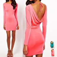 2014 New sexy hot dresses backless Mini Short Party Club Dress Open Back Lady nighty Bandage Dress 21FE2653