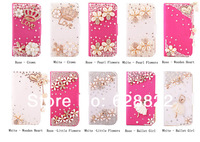 Free shipping New Style Flowers Butterfly Diamond Smooth Surface Leather Flip + Magnetic Buckle Case Cover For Samsung S3