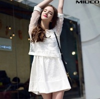 New arrival high style black white women lace two-piece dress good quality loose fashion spring and summer casual dress