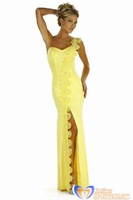 New 2014 Yellow Sexy One Shoulder Long Evening Gown Lace trim Party wear for women wholesale, fast free shipping HL5097