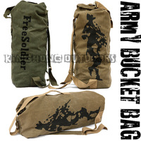 New Canvas Duffel Softback Tactical Army Bucket Bag Travel Climbing Hiking Large Capacity Men Sports Backpack (Free Soldier)