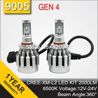 Free Shipping 2014 NEW GEN 4 CREE LED Headlight Headlamp Conversion Kit 9005 2000LM 12V 24V Aluminum Alloy IP68 6500K 360 Degree