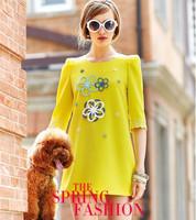 2014 Free Shipping Spring women Loose Slim Lace Sleeve Dress Size S M L XL Cotton Cute&Fashion
