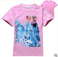 Elsa Frozen Children's short sleeve T-shirt Girls cartoon of foreign trade children's clothes in summer pink t-shirt