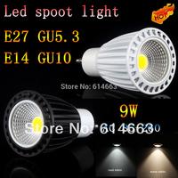 50PCS/LOT 12V 85-265V 9W LED SpotLight Bulbs lamps downlights CREE GU10 GU5.3 E27 E14  Bulb Warm/Pure/Cool White Black and white