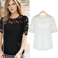 New 2014 European Style Fashion Women Clothing Short Sleeve Lace Chiffon Hollow Out Ladies Blouse Tops Shirt Plus Size 0834