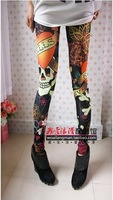 Free shipping 2013 New arrival Women s Vintage skull clothes stretchy skeleton printed tattoo Skinny Jeans Leggings  k027