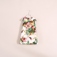 2014 new summer models butterfly flower vest dress, beautiful sleeveless dress for 2-10 year-olds