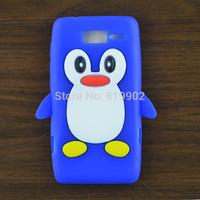1pcs Cute cartoon Penguin Silicone Soft back case Skin Cover for Motorola Moto RAZR i XT890
