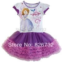 free shipping  sofia princess girl's dress,children's clothing,girl's short-sleeved dress