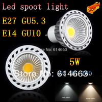 10PC  led lighting LED lamp 85-265V dimmable 5W E27 GU10 GU5.3 E14 COB LED lamp light led Spotlight White/Warm white