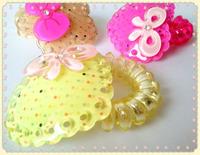 Min order $10 (mix order ) Multicolour transparent heart rabbit telephone cord hair rope hair holder hair accessory headband