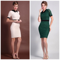 2014 spring fashion vintage OL outfit dark green lace women's short-sleeve dress