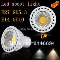 20PCS/LOT 5X High power 85-265V dimmable 5W GU5.3 E14 E27 GU10 COB LED lamp light led Spotlight White/Warm white led lighting