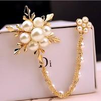 New 2014 brand pearl brooches for women wedding souvenir,snow flower crystal rhinestone tassels brooch jewelry gifts scarf pin
